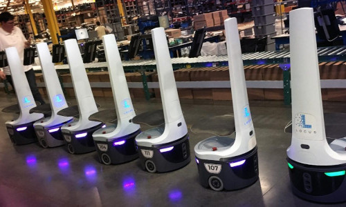 Some delivery robots.